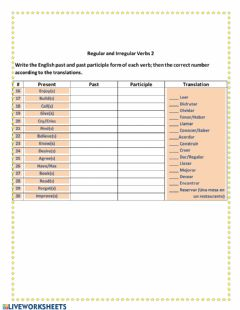 Ficha interactiva Regular and Irregular verbs 2