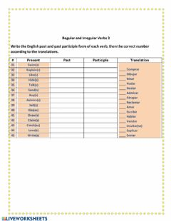 Interactive worksheet Regular and Irregular verbs 3