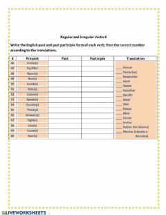 Ficha interactiva Regular and Irregular verbs 4