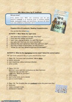 Interactive worksheet We Were Liars (Reading Comprehension)