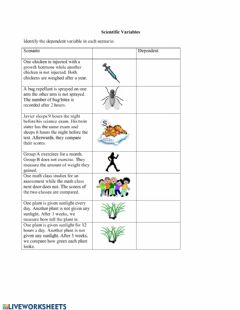Interactive worksheet Identifying Dependent Variables