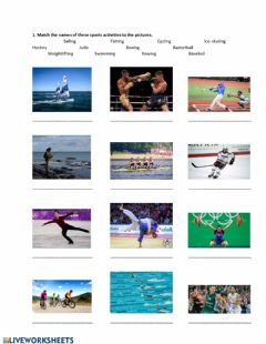Ficha interactiva Sports activities, vocab.