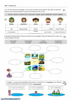 Interactive worksheet Zum Thema Ferien