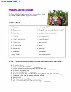 Interactive worksheet Questions about our families