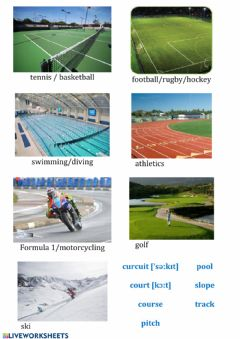Interactive worksheet Sports places