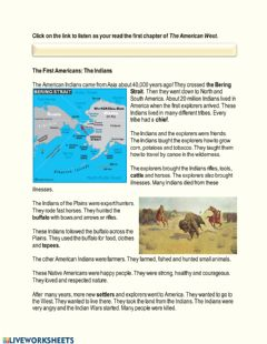 Interactive worksheet The American West Chapter 1- The Indians