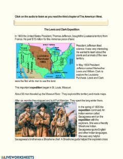Interactive worksheet The American West Chapter 3 - Lewis and Clarke