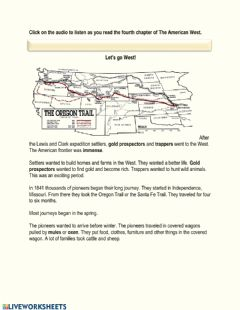 Interactive worksheet The American West Chapter 4 - The Oregion Trail