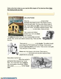 Interactive worksheet The American West Chapter 4 - Life on the Frontier