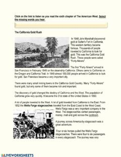 Interactive worksheet The American West Chapter 6