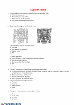Interactive worksheet Cultura huari