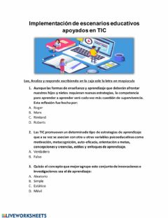 Interactive worksheet Implementación de TIC