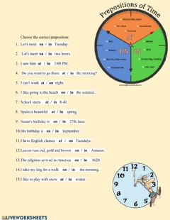 Interactive worksheet Prepositions of time: in, on, at