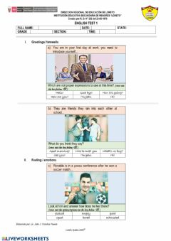 Interactive worksheet Greetings-farewells-feelings