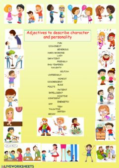 Interactive worksheet Adjectives about personality