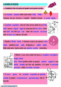 Interactive worksheet Caccia all'errore!