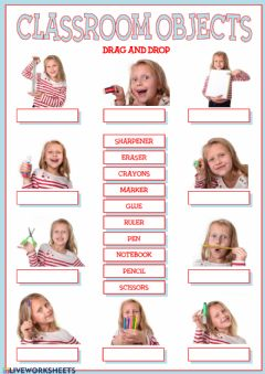 Ficha interactiva Classroom objects (drag and drop)