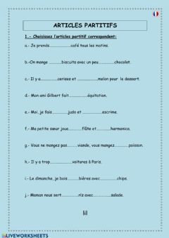 Interactive worksheet Articles partitifs -2-