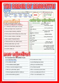 Interactive worksheet The order of adjectives