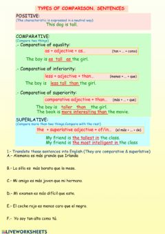 Interactive worksheet Types of comparison sentences