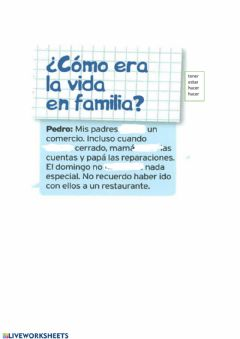 Interactive worksheet La familia-imperfecto 1