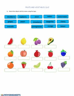 Interactive worksheet Quiz fruits and vegetables