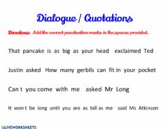 Interactive worksheet Quotation Marks and Punctuation in Quotations