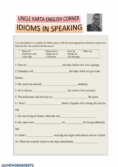 Interactive worksheet IDIOMS IN SPEAKING