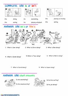 Interactive worksheet Present continuous tense