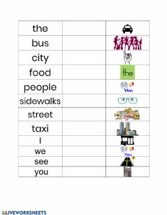 Interactive worksheet City Streets Vocabulary