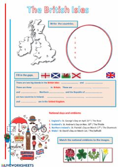 Ficha interactiva The British Isles