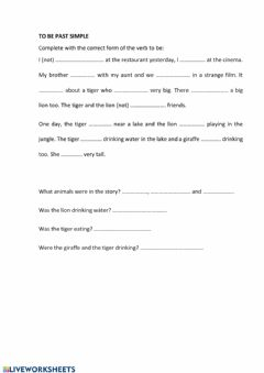 Interactive worksheet To be past simple