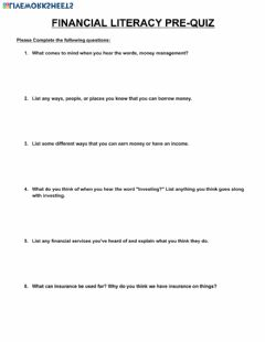Interactive worksheet Intro to Financial Literacy Pre-Quiz