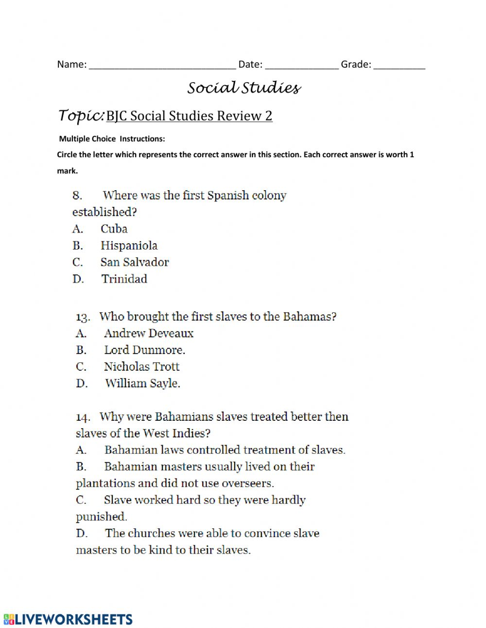 - BJC Review- Multiple Choice Questions - 3 - Interactive Worksheet