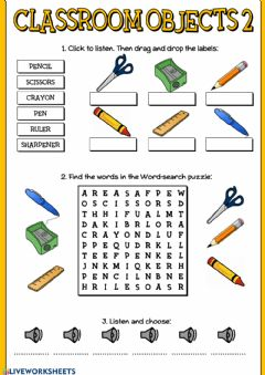 Interactive worksheet Classroom objects 2