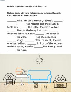 Ficha interactiva Ordinals, prepositions, and objects in a living room.