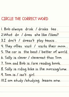 Ficha interactiva Circle the correct word