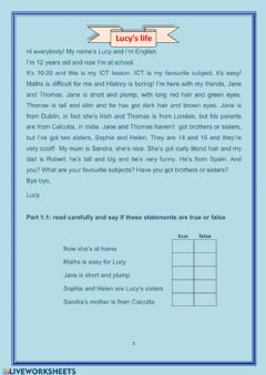 Interactive worksheet Lucy's live