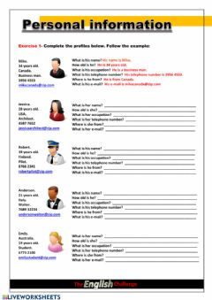 Interactive worksheet Personal information