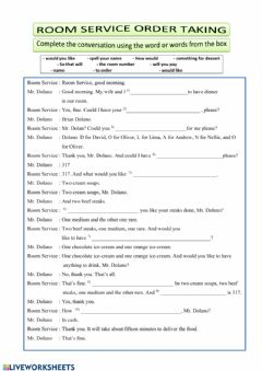 Interactive worksheet English for restaurant