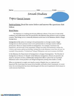 Interactive worksheet Social Issues - Illegal Immigration