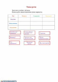 Interactive worksheet Типы речи