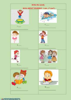 Interactive worksheet I can- I can't