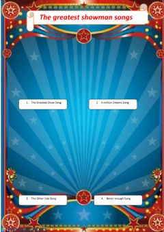 Interactive worksheet The greatest showman