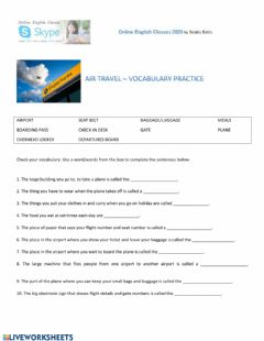 Interactive worksheet Air travel vocabulary