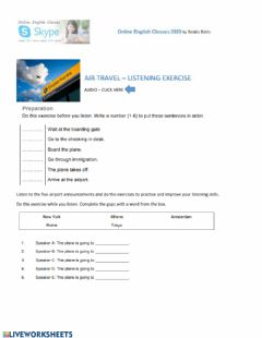 Interactive worksheet Air travel - listening