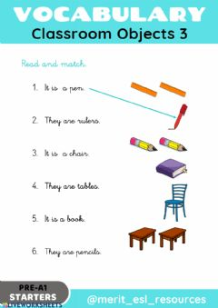 Ficha interactiva School Objects - Read and match