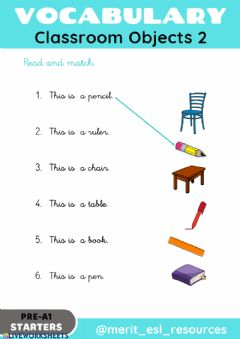 Interactive worksheet School Objects - Read and match