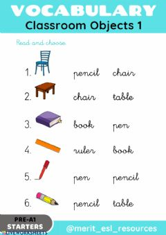 Interactive worksheet School Objects - Read and choose