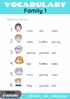 Interactive worksheet Family - Read and choose